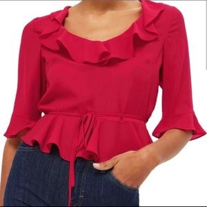 Topshop blouse with ruffle details in pink